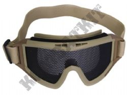 Airsoft Goggles Large metal mesh safety glasses eye protection Tan no fog